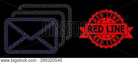 Mesh Polygonal Mail Queue On A Black Background, And Red Line Corroded Ribbon Seal. Red Stamp Seal C