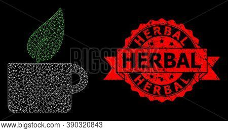 Mesh Polygonal Herbal Tea On A Black Background, And Herbal Rubber Ribbon Stamp Seal. Red Seal Conta