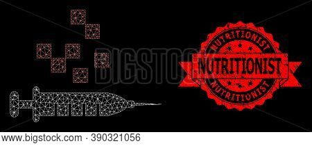 Mesh Network Vaccine Synthesis On A Black Background, And Nutritionist Scratched Ribbon Stamp Seal.