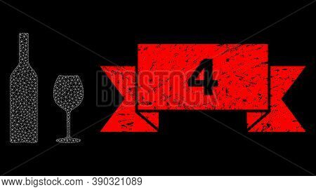 Mesh Polygonal Wine Glassware On A Black Background, And 4 Corroded Ribbon Stamp Seal. Red Stamp Sea