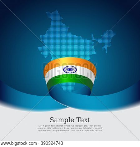 India Flag Background. Mosaic Map, Flag Of India On Blue White Background. National Poster. Vector D