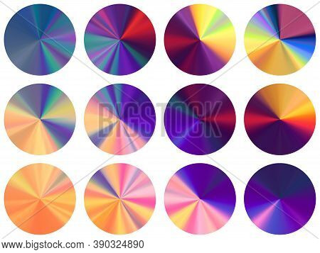 Concentric Metallic Gradient Label Elements Vector Collection. Polished Multicolor Medal Shapes. Ban