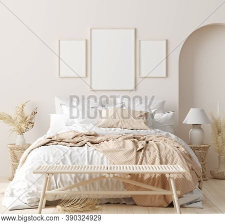 Mock Up Frame In Bedroom Interior Background, Beige Room With Natural Wooden Furniture, 3d Illustrat