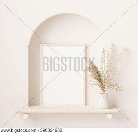 Mock Up Frame Close Up In Home Interior Background With Plant In Vase, 3d Illustration