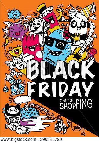 Illustration, Cute Hand Drawn Doodles ,black Friday Sale Hand Drawn Vector Concept Illustration.