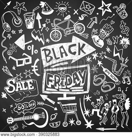 Illustration, Cute Hand Drawn Doodles ,black Friday Sale Hand Drawn Concept Illustration.
