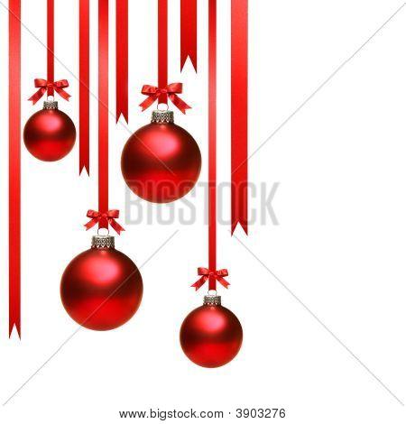 weihnachtskugel weiß mit Bändern hängen