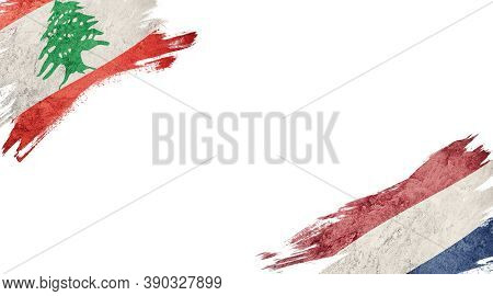 Flags Of Lebanon And Nederland On White Background