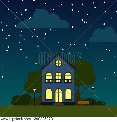 Night Street With Single House, Trees, Bush, Clouds, Flat Cartoon Square Banner. Urban Small Town La