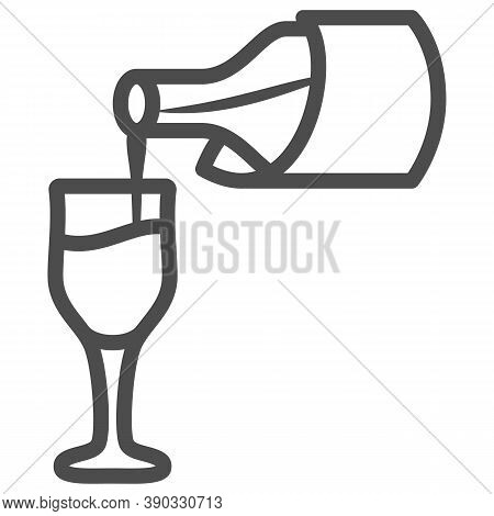 Wine Pouring From Bottle Into Glass Line Icon, Wine Festival Concept, Bottle And Glass Sign On White