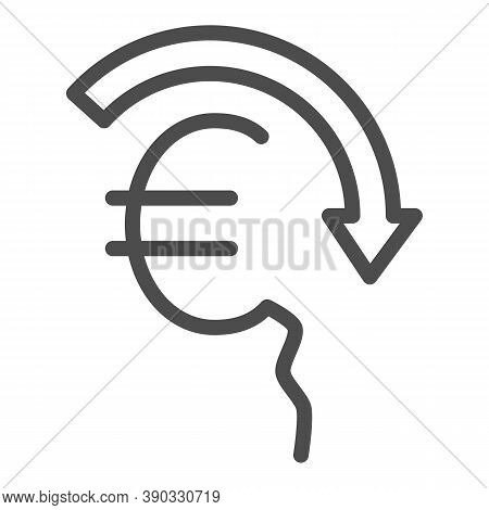 Euro Rate Fall Line Icon, Economic Sanctions Concept, Euro Depreciation Sign On White Background, Cu