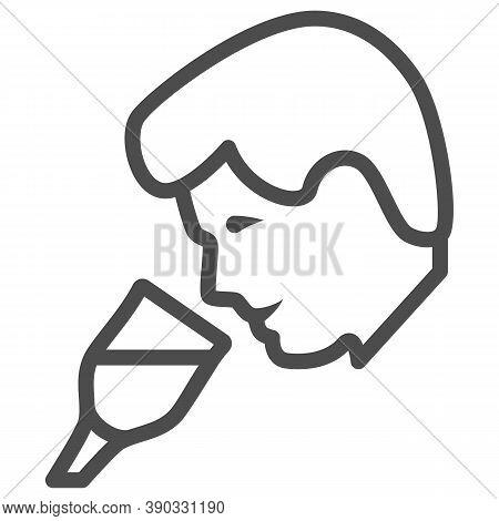 Person Taste Wine Line Icon, Wine Festival Concept, Man Smelling Liquid In Glass Sign On White Backg