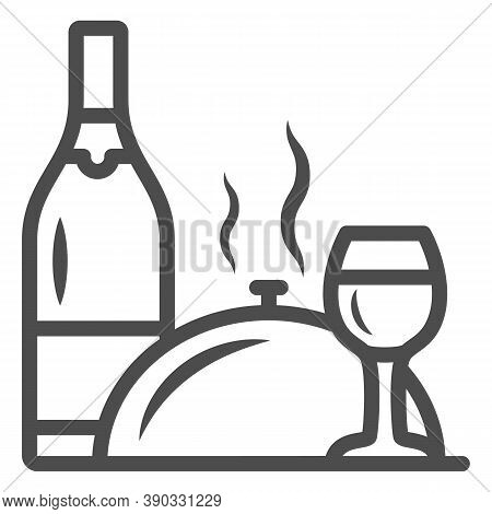 Bottle, Wine Glass And Food On Tray Line Icon, Romantic Dinner Concept, Restaurant Dinner Service Si