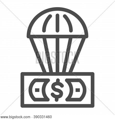Dollar And Air Balloon Line Icon, Finance Concept, Unsecured Currency In Air Sign On White Backgroun