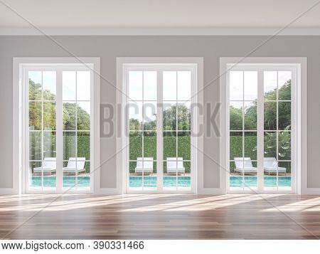 Empty Classical Style With Swimming Pool Background 3d Render, The Room Has Wood Floor Gray Wall And