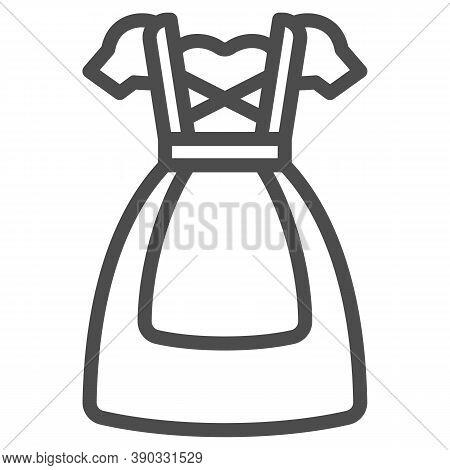 Oktoberfest National Dress Line Icon, Oktoberfest Concept, Bavarian Woman Dress Sign On White Backgr