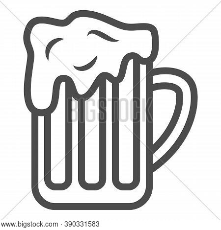 Mug Of Beer Line Icon, Oktoberfest Concept, Full Alcohol Drink Glass Sign On White Background, Beer