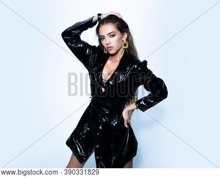 Fetish Fashion Woman. Isolated On White. Fashion Portrait. Gorgeous Seductive Model Girl