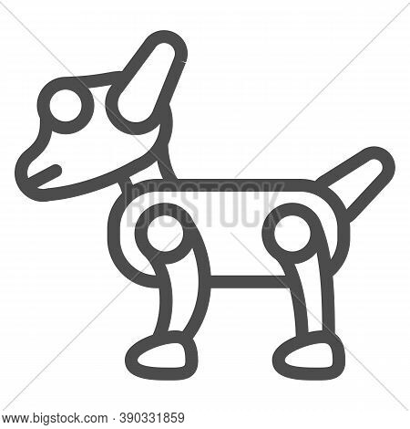 Mechanical Robot Dog Line Icon, Robotization Concept, Artificial Pet Friend Sign On White Background