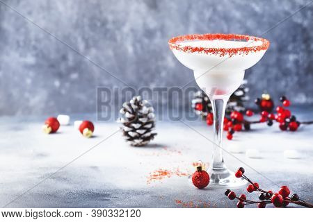 White Margarita, Christmas Or New Year's Winter Alcoholic Cocktail With Rum, Coconut And Irish Cream