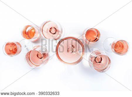 Rose Wine Glasses On Wine Tasting. Degustation Different Varieties Of Pink Wine Concept. White Backg
