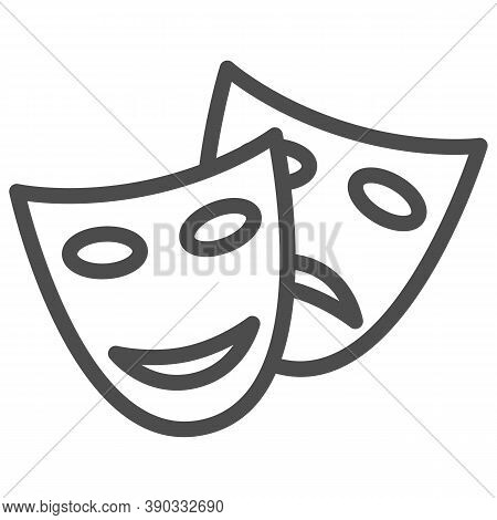 Theatrical Masks Line Icon, Sea Cruise Concept, Masquerade Sign On White Background, Funny And Sad T