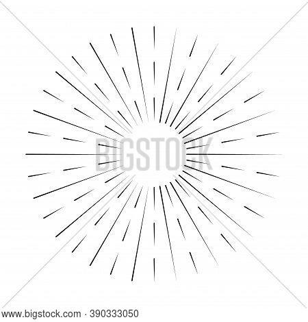 Sunburst Line Icon Isolated On White Background, Summer Web Banner, Retro Circle Design, Vector Illu