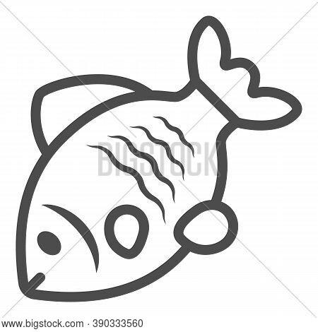 Stock Fish Line Icon, Oktoberfest Concept, Oktoberfest German Festival Traditional Food Sign On Whit