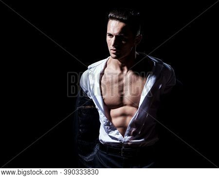 Sexy Male Bare Torso. Man Undressed Shirt. Muscular Guy With Sexy Torso. Athletic Young Boy Showing