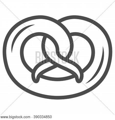 Pretzel Line Icon, Oktoberfest Concept, German Traditional Bakery Food Sign On White Background, Pre
