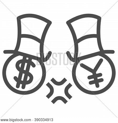 Dollar And Yen Conflict Line Icon, Economic Sanctions Concept, Competition Currency In Hats Sign On