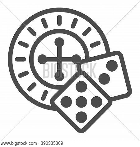 Roulette And Dice Line Icon, Sea Cruise Concept, Casino Sign On White Background, Roulette With Cube
