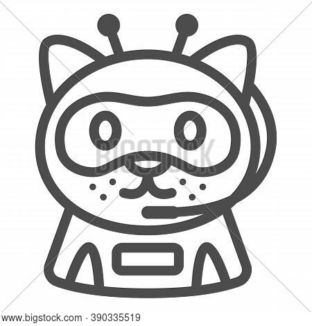 Robot Cat Line Icon, Robotization Concept, Chat Bot Robot Sign On White Background, Ai Robotic Cat A