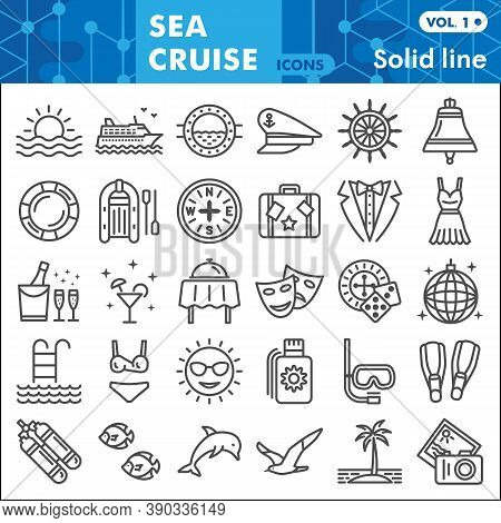 Sea Cruise Line Icon Set, Voyage Symbols Collection Or Sketches. Vacation And Travel Linear Style Si
