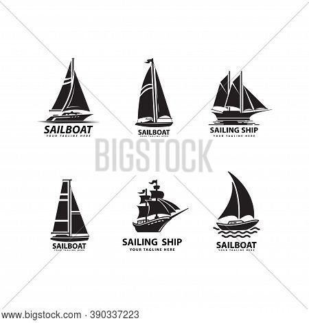 Sea Transport Vehicle Vector Design Sailboat Silhouettes On Set. Ship Logo Silhouette
