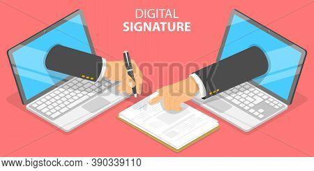 3d Isometric Flat Vector Conceptual Illustration Of Digital Signature.