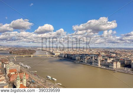 Aerial Drone Shot Of Hungarian Parliament By Danube From Buda Hill In Budapest Winter Noon