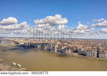 Aerial Drone Shot Of Hungarian Parliament By Danube From Buda Hill In Budapest Winter Morning