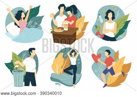 Leading Healthy Lifestyle, Exercising And Good Dieting Vector