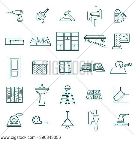 Hand Drawn Home Renovation Icons Set. Screwdriver Screwing Window Cleaning Wallpapering And Installi