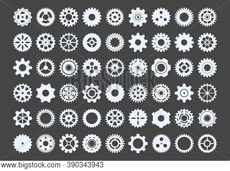 Cogwheels Large Set. Metal Snowflakes Industrial Components For Mechanisms Round Gear With Numerous