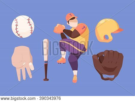 Baseball Set. Character In Special Professional Sports Uniform Prepares For Throw Protective Yellow