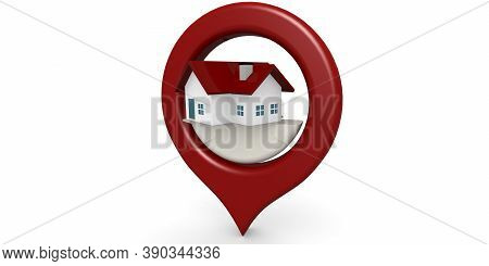 Red House Icon Locator Isolated, 3d Rendering