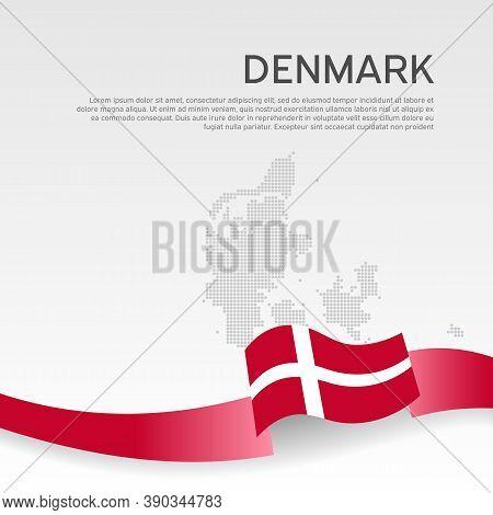 Denmark Wavy Flag And Mosaic Map On White Background. Denmark Flag Color Wavy Ribbon. National Poste