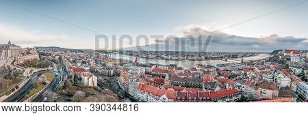 Panoramic Aerial View Of Danube River From Buda Hill In Budapest Winter Morning