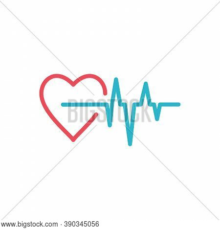 Red Heart With Ekg Medical Design. Stock Vector Illustration Isolated On White Background.