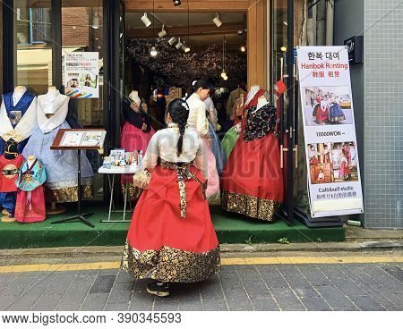 Seoul, South Korea - April 30, 2017: Bukchon Hanok Village - Korean Traditional Village.  Korean Gir