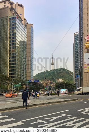 Seoul, South Korea - May 2, 2017: View Of Namsan Mountain And N Seoul Tower Between High-rise City B