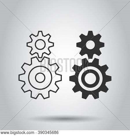 Gear Vector Icon In Flat Style. Cog Wheel Illustration On White Isolated Background. Gearwheel Cogwh