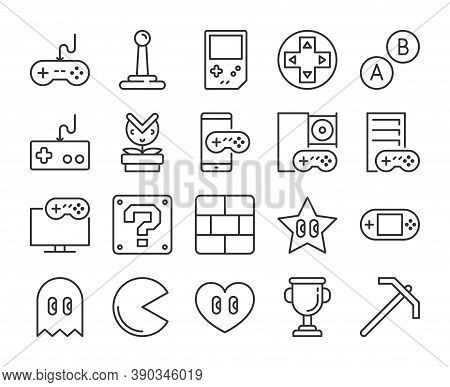Video Game Icon. Games And Entertainment Line Icons Set. Editable Stroke.